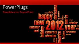 Elegant presentation design enhanced with a new year theme with lots of red colored texts on a black background
