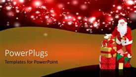 PPT theme enhanced with a Santa clause standing beside a stack of gifts