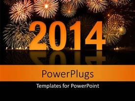 Powerpoint template a beautiful celebration of the new year with ppt theme enhanced with new year depiction with beautiful fireworks in night sky toneelgroepblik Choice Image