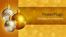 Presentation theme having three silver and gold colored ornaments over a blurry background