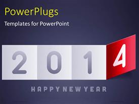 Amazing PPT layouts consisting of new year depiction with flipping calendar on grey surface