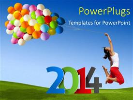 Elegant slide deck enhanced with new year depiction with happy young lady holding colorful balloons with rope