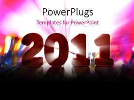 Amazing PPT theme consisting of new year depiction with new year text over colorful background
