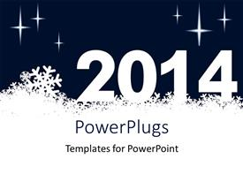 Presentation theme having new year depiction with snowflakes and new year text