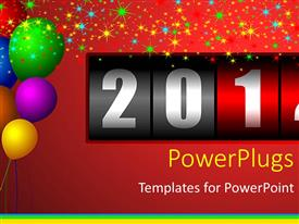 Elegant PPT theme enhanced with lots of colorful balloons with a year counter on a red background
