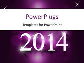 Beautiful slides with new year depiction with year 2014 on reflective purple surface