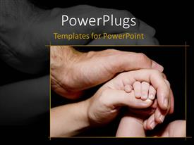 Beautiful presentation design with newborn baby hand is held with love and care by his mother and father, black color