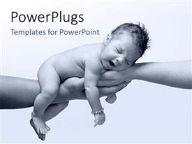 PPT layouts having newborn baby laying in clasped hands of father and mother