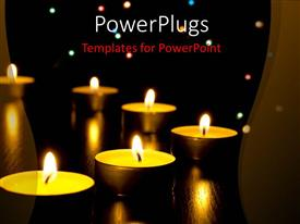 PPT theme having night depiction withlighted candles arranged in semicircle
