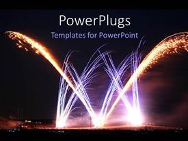 Presentation theme consisting of night time view of lots of sparking celebration fireworks