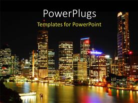 Audience pleasing presentation theme featuring night view of Brisbane Australia with tall building and light