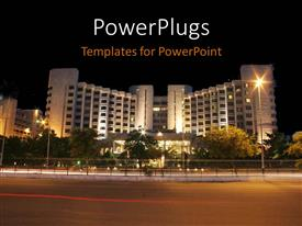 PPT theme enhanced with night view of a lighted high tower with a beautiful landscape