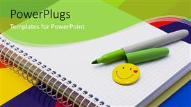 PPT theme having notebook, felt-tip pen of green, badge-smile on multi color background