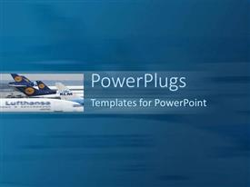 Presentation theme with a number of airplanes with a bluish background