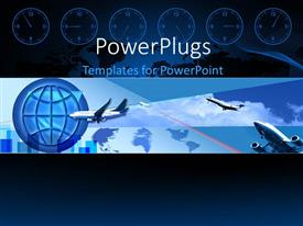 Colorful PPT theme having a number of airplanes with a globe