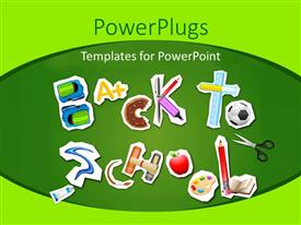 PPT theme enhanced with a number of alphabets creating the word back to school