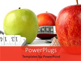 Elegant presentation theme enhanced with a number of apples along with measuring tape