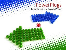 Presentation design consisting of a number of arrows formed with the help of color balls