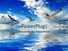 PPT theme having a number of birds flying over the sea