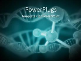 Presentation theme having a number of bonds with DNA structure and greenish background