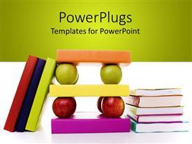 Elegant slide set enhanced with a number of books together along with apples
