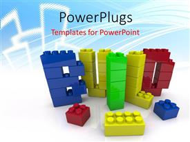 PPT theme featuring a number of building blocks in various colors
