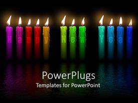 Elegant PPT layouts enhanced with a number of burning candles with blackish background