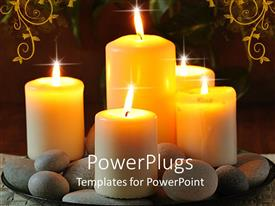 Presentation design consisting of a number of burning candles with floral background