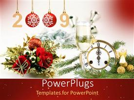 Colorful PPT theme having red roses clock showing celebrationsmaterial for new year