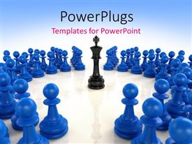 Presentation theme enhanced with a number of chess pieces with a bluish background