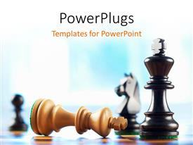 Colorful theme having a number of chess pieces and bluish background