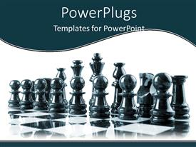 Beautiful PPT theme with a number of chess pieces with white background