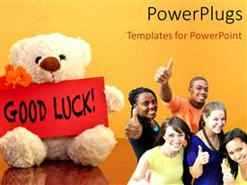 Presentation theme with a number of classmates with a teddy bear and the word good luck