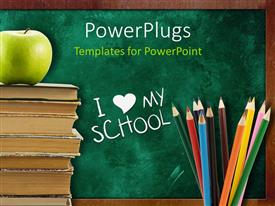 PPT theme with a number of color pencils with a bundle of books