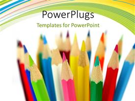 Audience pleasing PPT layouts featuring a number of color pencils with white background
