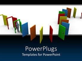 PPT theme enhanced with a number of colorful doors with just three of them open
