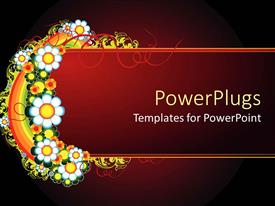 Presentation theme having a number of colorful flowers with reddish background