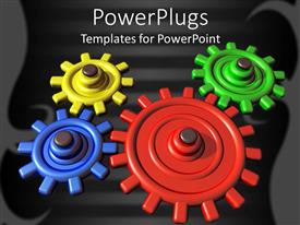 Audience pleasing PPT layouts featuring a number of colorful gears with black background