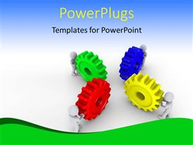 Elegant PPT theme enhanced with a number of colorful gears with bluish background and place for text