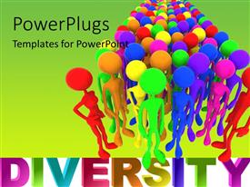 PPT layouts enhanced with a number of colorful people with greenish background and place for text