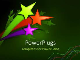 PPT layouts featuring a number of colorful stars with greenish background