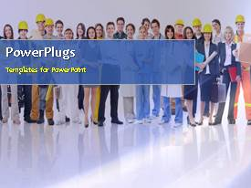 PPT theme featuring a number of construction workers with bluish background