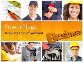 PPT layouts with a number of construction workers with yellowish background