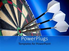 Colorful PPT layouts having a number of darts hitting the dart board in middle