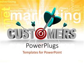 Presentation theme consisting of a number of darts on the word customers