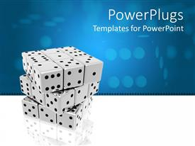 PPT theme featuring a number of dices together with bluish background