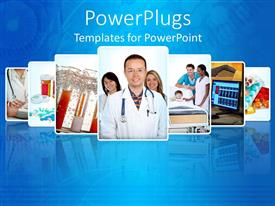 Beautiful PPT theme with a number of doctors together with bluish background