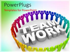 Slide deck having a number of figures in a circle with the word teamwork