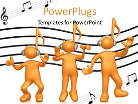 Audience pleasing PPT layouts featuring a number of figures with headphones on