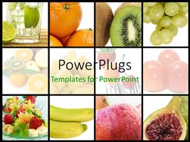 PPT theme featuring a number of fruits with place for text